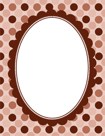 polka dotted: Brown color polka dotted seamless background with retro doodle frame Illustration