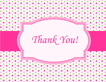 politeness: Cute pink and green polka dot design with pink ribbon and frame thank you card drsign