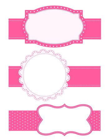Het verzamelen van verschillend gevormde schattige roze  frame met linten