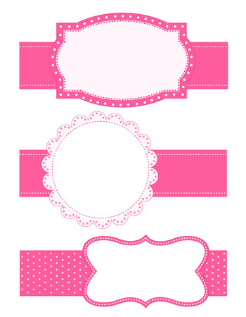 Collection of different shaped cute pink border  frame  with ribbons Illustration