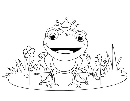 frog prince: Cute frog prince coloring book page for kindergarten kids