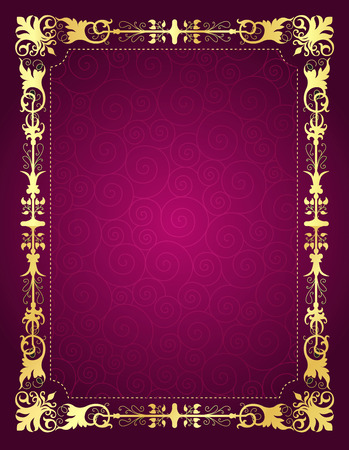 pink swirl: Elegant gold ornamental frame on pink swirl pattern background.. perfect as stylish wedding invitations and other party invitation cards or announcements Illustration