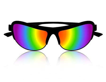 rimmed: Elegante arco iris de gafas de sol de color clipart  ilustraci�n aislada en el fondo blanco