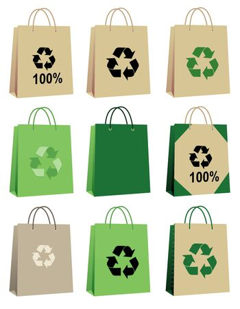reusable: 100% eco friedly cardboard bag collection isolated on white background