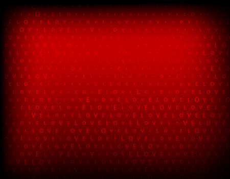 creative arts: A red background with the word love multiplicated. Illustration