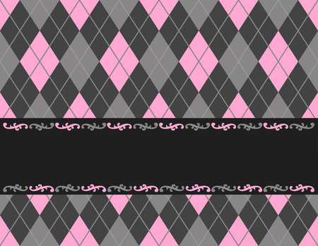 specially: Pink and black argyle  harlequin background with frame. specially for baby themed  mothers day or any occasion greeting cards Illustration