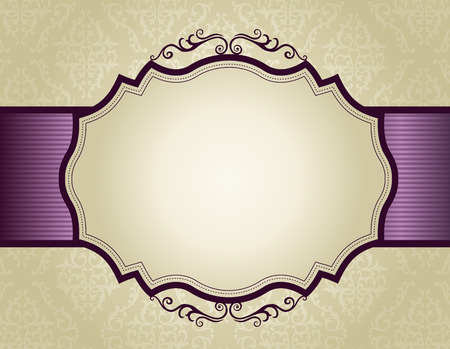 Elegant gold and purple damask pattern background with ribbon.. perfect as stylish wedding invitations and other party invitation cards or announcements