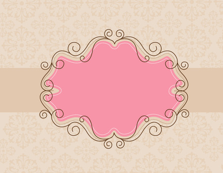 decorative border: Decorative border  frame on brown floral textured background Illustration