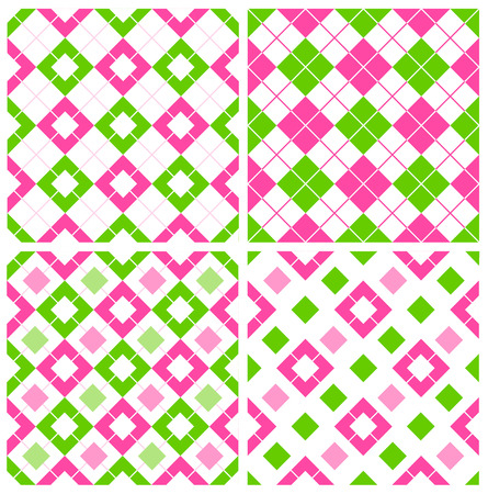Pink and green gingham  argyle seamless pattern collection