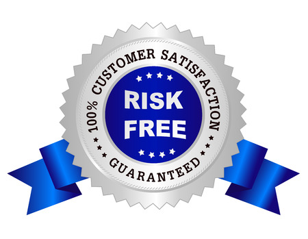 satisfaction guarantee: Silver and blue color clean 100% customer satisfaction guaranteed seal  stamp