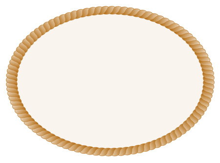 Oval shaped rope frame / border isolated on white background