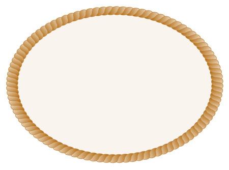 Ovale touw frame  grens geïsoleerd op een witte achtergrond