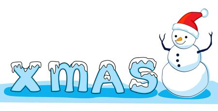 mas: Snowman and x mas icy text on snow isolated on white background Illustration