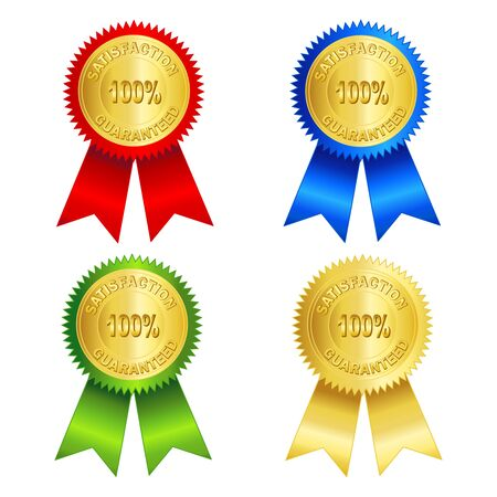 satisfaction guaranteed: 100% satisfaction guaranteed gold seal with red, blue, green, and gold ribbons isolated on white background