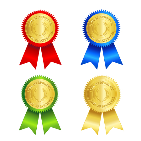 assured: Isolated illustration of a gold approval seal and red , gold , blue and green ribbons. Seal of approval