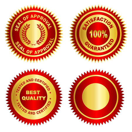 succeeding: Isolated Blank Gold and red stamp  seal for certificates. including satisfaction 100% guaranteed, Seal of approval, Tested and certified and blank one. Illustration