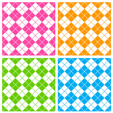 gree: Colorful gingham  argyle pattern in pink , gree, orange and blue Illustration