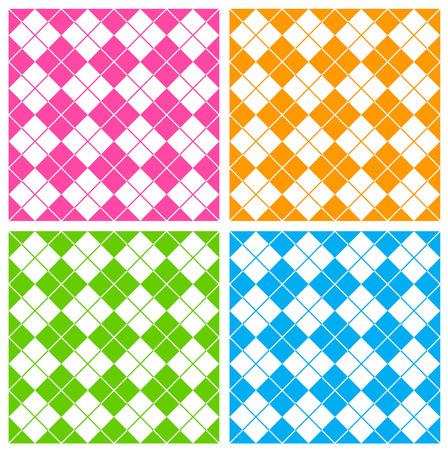 gingham: Colorful gingham  argyle pattern in pink , gree, orange and blue Illustration