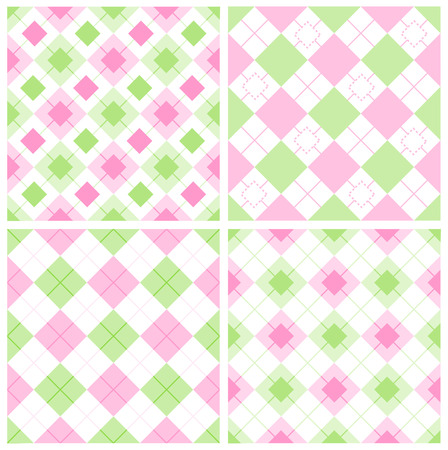 argyle: Cute gingham  argyle pattern collection in green and pink