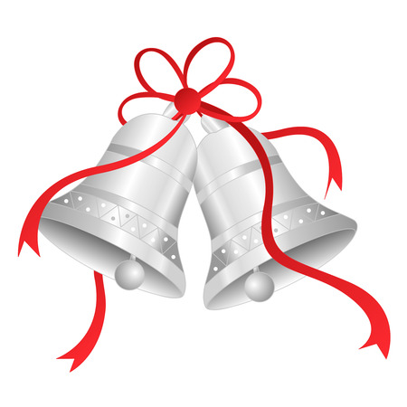 Illustration od silver bells with red ribbon bow isolated on white baclground