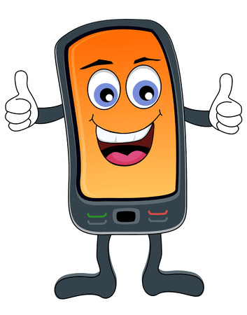 Cute smartphone illustration with a smiling face cartoon image isolated on white Vectores