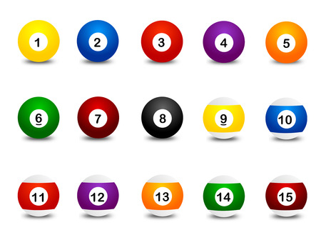 8 9: Collection of colorful snooker balls clipart isolated on white background