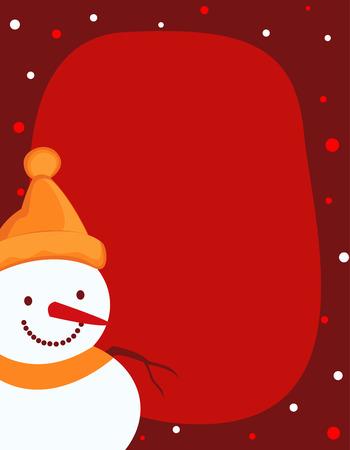 bordering: Un ejemplo de la frontera que ofrece un mu�eco de nieve sonriente con nieve que cae sobre fondo rojo. mu�eco de nieve con sombrero de santa. Vectores