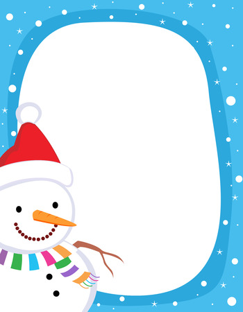 A border illustration featuring a smiling snowman with falling snow on clean blue background. snowman wearing red santa hat
