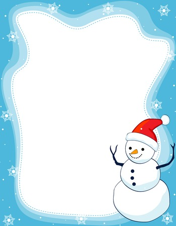 christmas time: A border illustration featuring a smiling snowman with falling snow on clean blue background. snowman wearing red santa hat.