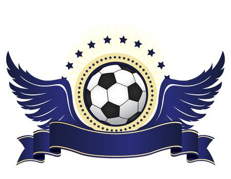 青い翼とリボンは、白い背景で隔離の黒と白のサッカー ボールのイラスト  イラスト・ベクター素材