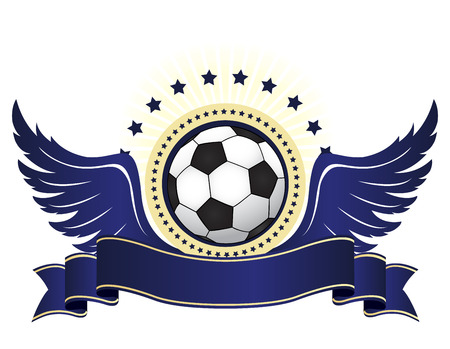 Illustration of a black and white football ball with blue wings and ribbon banner  isolated on white background