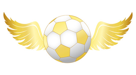 Illustration of a golden football ball with wings isolated on white background Illustration