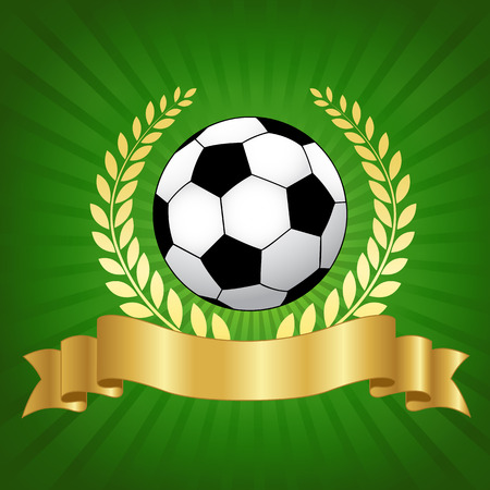 Soccer champion concept with shiny gold laurel ribbon banner and soccer ball on glowing green background Ilustração