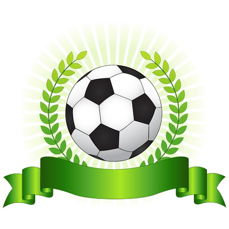 awarding: Soccer champion concept with shiny green laurel ribbon banner and soccer ball on glowing background
