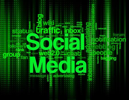 Illustration of various social media keywords on green halftone dots background