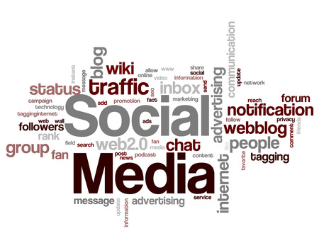 fanpage: Social media word cloud  tag cloud isolated on white background Illustration