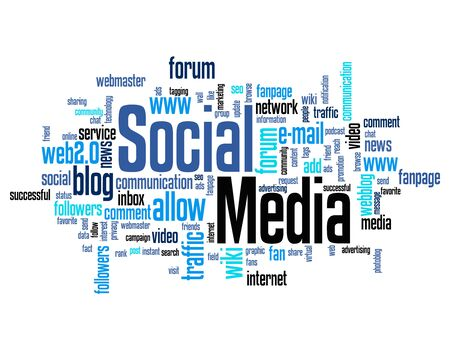 wiki: Social media word cloud  tag cloud isolated on white