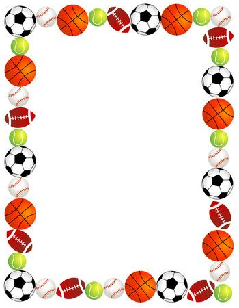 marcos redondos: Cinco bolas de deporte diferentes Frontera  marco sobre fondo blanco.