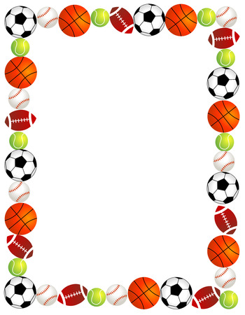 Five different sport balls border / frame on white background.