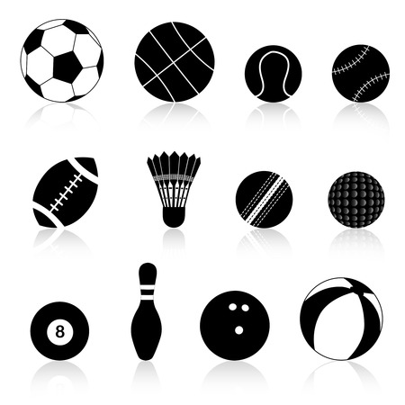 rugger: Twelve different black and white sport balls isolated on white background.
