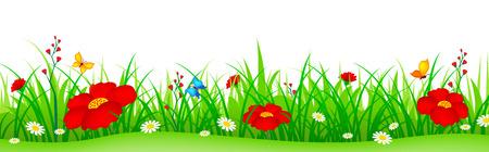 緑のかわいいカラフルな春の花イラスト分離された白い背景を持つ草。Web サイトのヘッダーとして使用することができますフッターバナー。フラ
