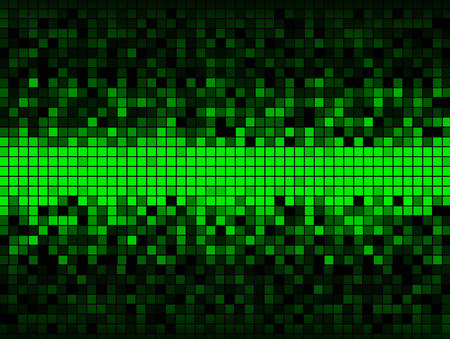 so that: Unique abstract background created from a grid of squares some green some shades of gray, distributed so that the center is all green and the upper and lower edges are dark.