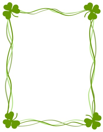 Green clover st. Patricks Day Background  Border with ribbons Vector