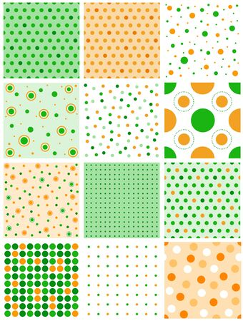 Seamless pattern or texture with orange and green polka dots for blogs, www, scrapbooks, party or st patricks day themed designs Vector