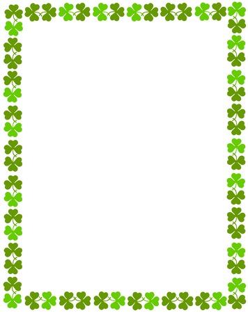 Green clover st. Patrick's Day Background / Border Vettoriali