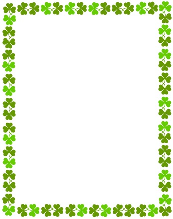 Green clover st. Patrick's Day Background / Border Vectores