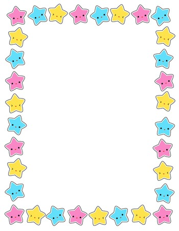 yellow pages: Cute colorful stars border  frame for greeting cards, party invitation backgrounds etc