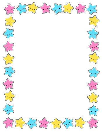 Leuke kleurrijke sterren  frame voor wenskaarten, uitnodiging party achtergronden etc