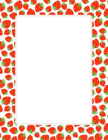 Strawberry seamless pattern page border / frame  イラスト・ベクター素材