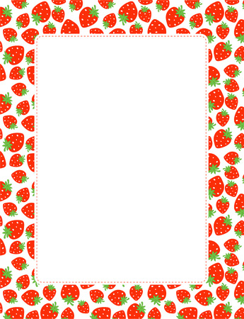 Strawberry seamless pattern page border / frame Vettoriali